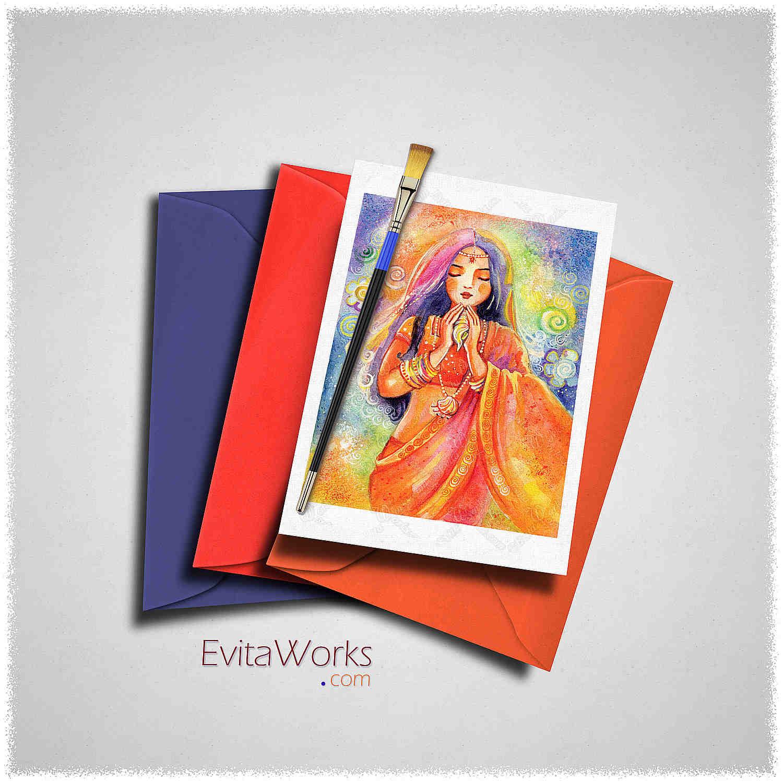 Indian Mermaid 2016 Card ~ EvitaWorks