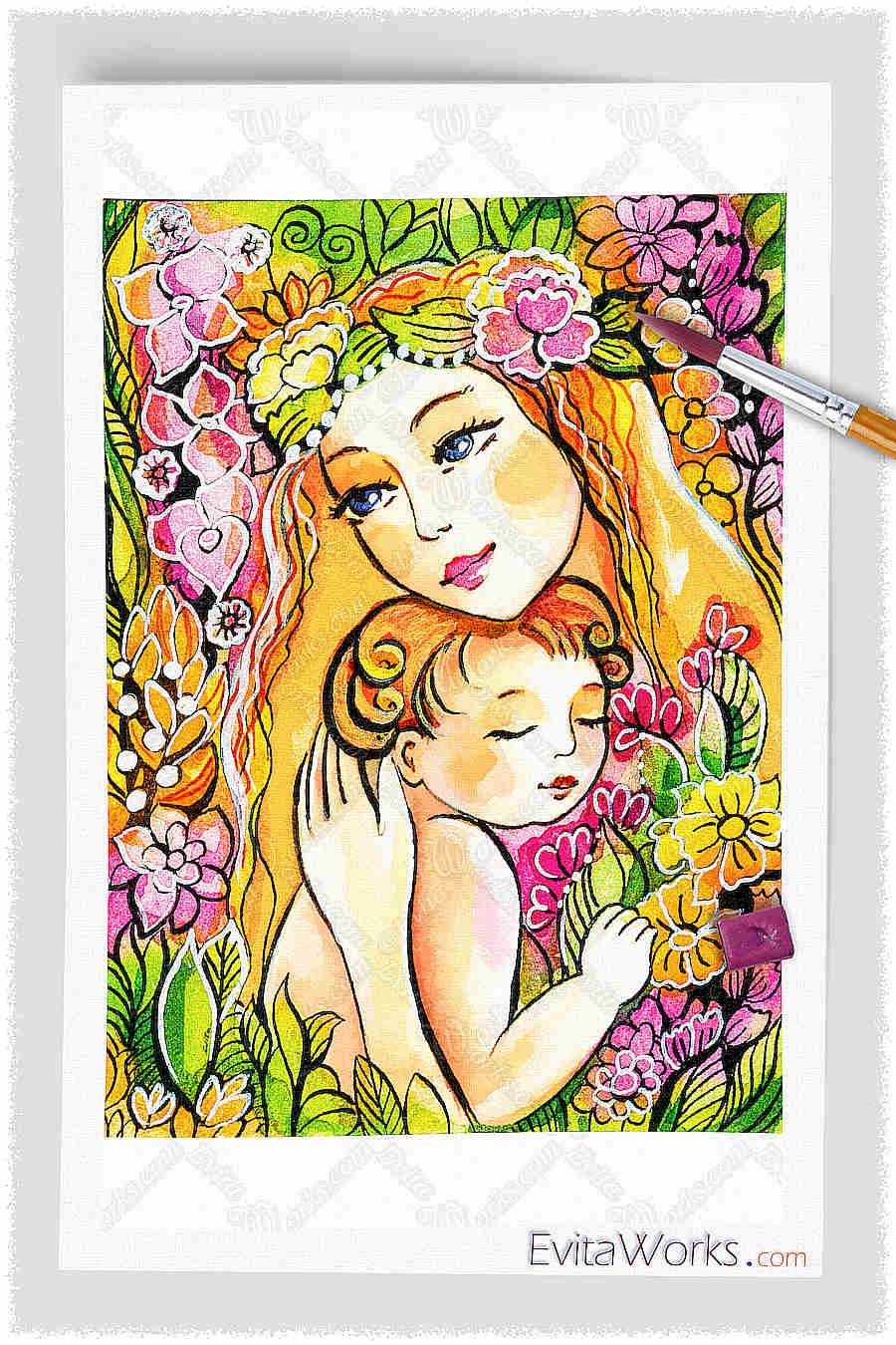 Yellow Madonna With Child ~ EvitaWorks