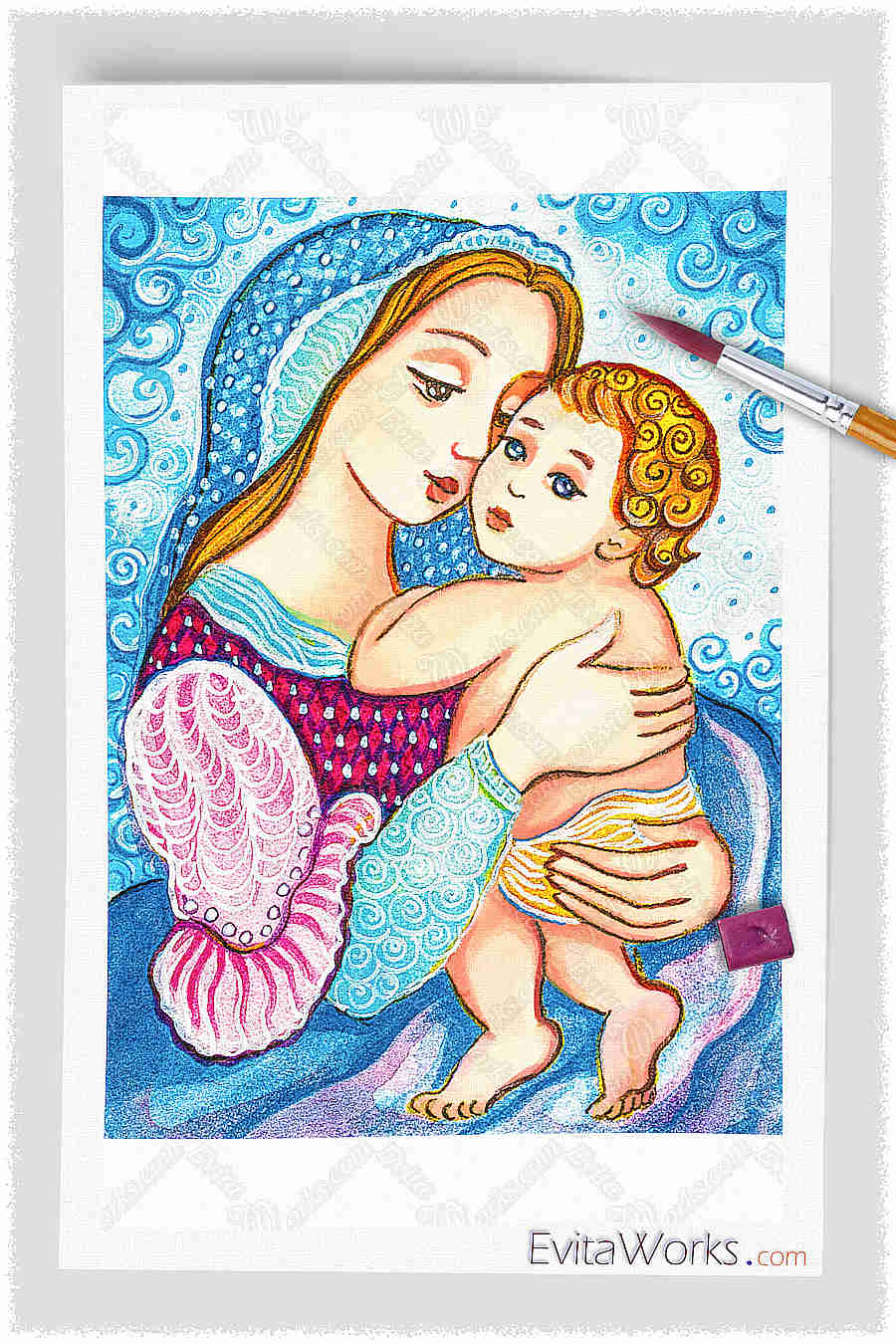 Madonna And Child In Blue ~ EvitaWorks