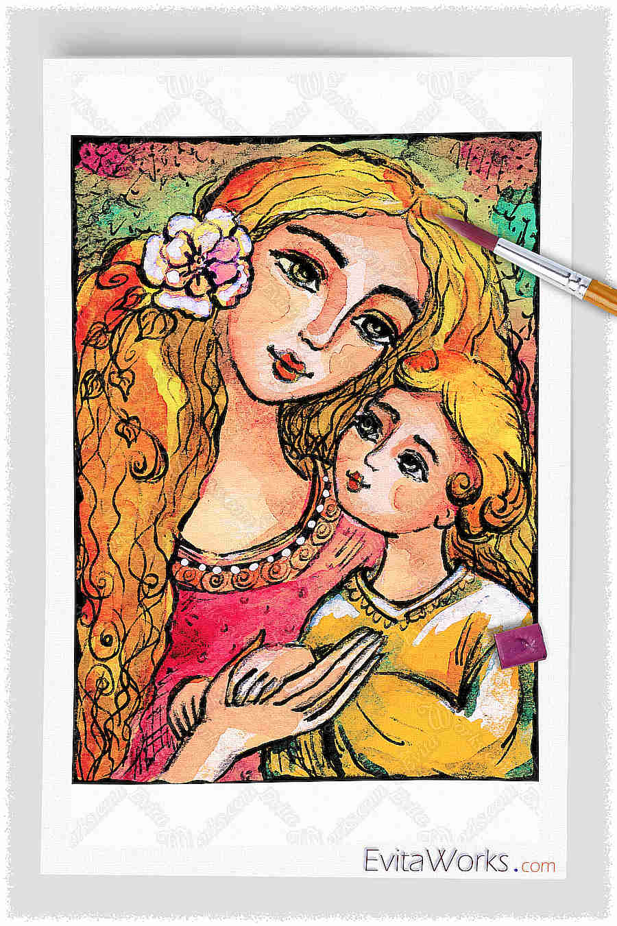 Mother And Child In Yellow ~ EvitaWorks